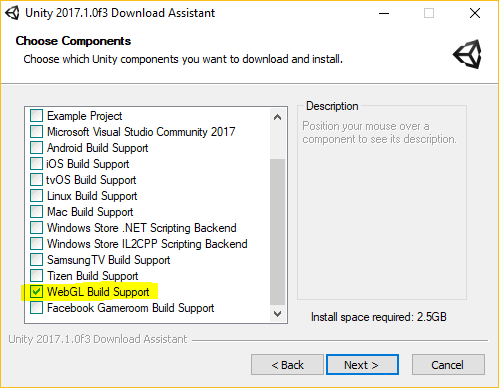 Unity installer option to select